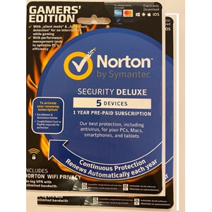 SYMANTEC Norton Security Deluxe Gamer Ed 1 år 5 enheter