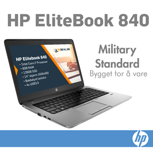 "HP Elitebook 840 G1 Intel i7, 8GB-RAM, 128GB-SSD, 14"" Skjerm"